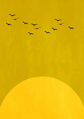 Yellow Sun with bird silhouettes