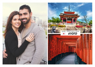 Kyoto Fotocollage Tempel Torii