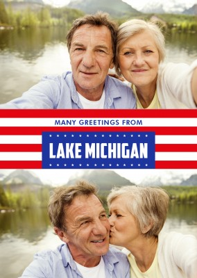 Lake Michigan  greetings in US Flag design