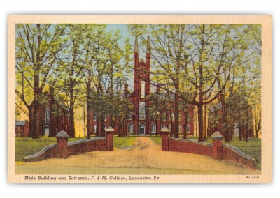 Lancaster, Pennsylvania, Main Building and Entrance, F. & M. College