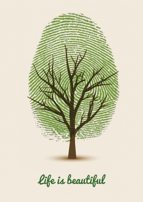 illustration with green tree and fingerprints