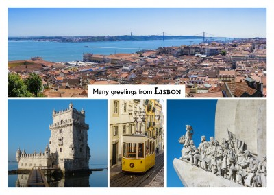 photocllage of Lisbon with tram, Belem, Skyline