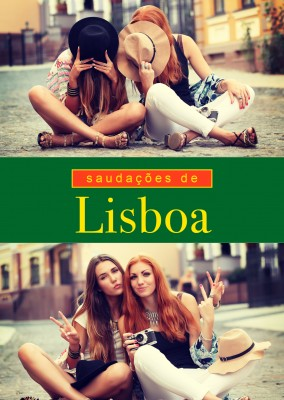 Lisbon greetings in Portuguese language green, red & yellow