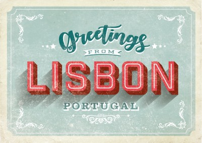 vintage postkarte lisbon