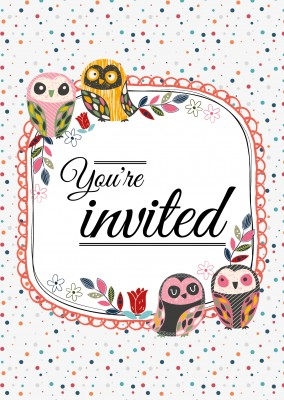 Invitation Card with owls and color dots in the background