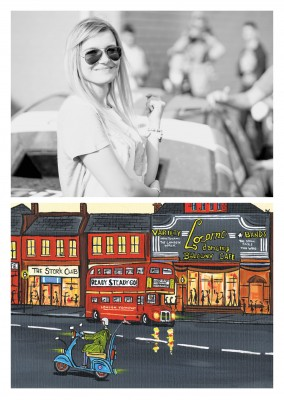 Illustration Södra London Konstnären Dan London transport