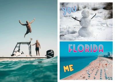 collage de photos de bonhomme de neige et de la plage