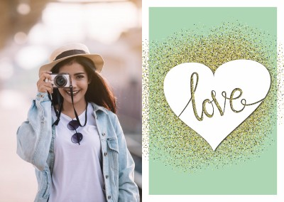 Love on golden heart on mintgreen background–mypostcard