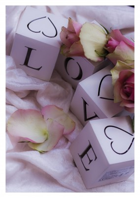 love lettering postcard with flowers