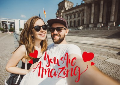 Quote you are amazing in red handwriting and two red hearts