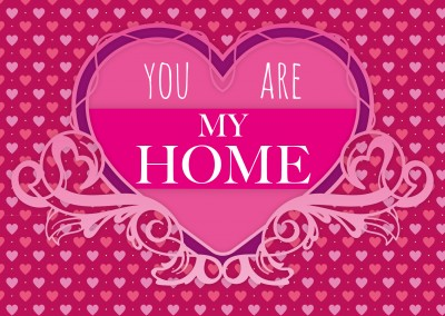 you are my home quote postcard pink hearts