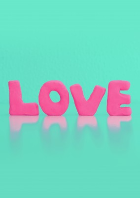 Kubistika love lettering in neon colours