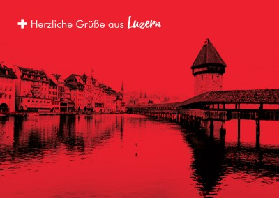 Chapel bridge in Lucerne in swiss colour design