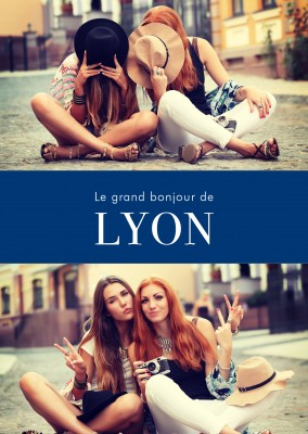Lyon greetings in French language blue white