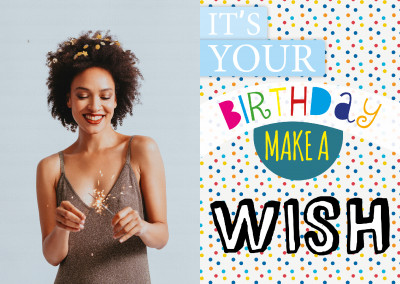 its your birthday make a wish design postcard greeting card