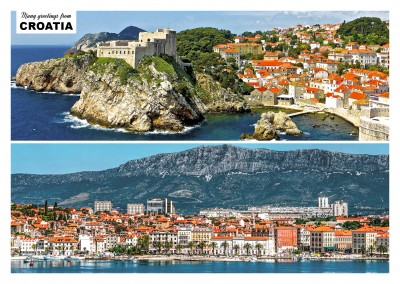 Postcard with two photos of croatia