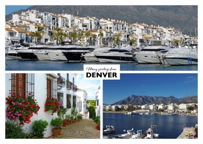 Collage of Marbella in Spain showing old town and port–mypostcard