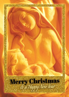 Merry Christmas Mary & Jesus, with golden Rahmen