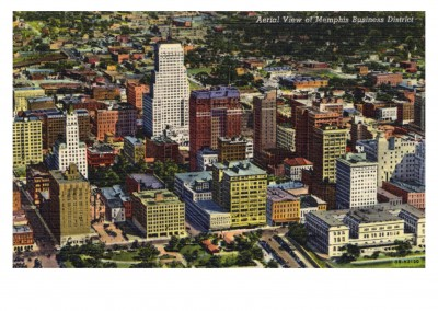 Curt Teich Ansichtkaart Archieven Collectie Areal weergave van Memphis Business district