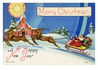 Curt Teich Postcard Archives Collection  Merry Christmas_santa_and_his_reindeer