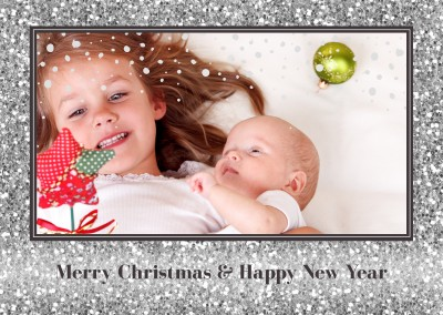Merry Christmas with silver glitter frame