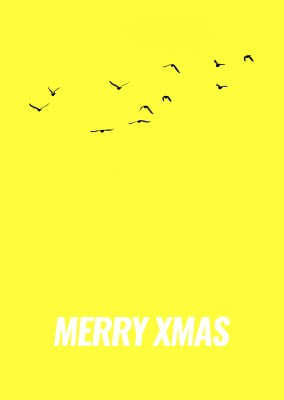 yellow christmas card with birds