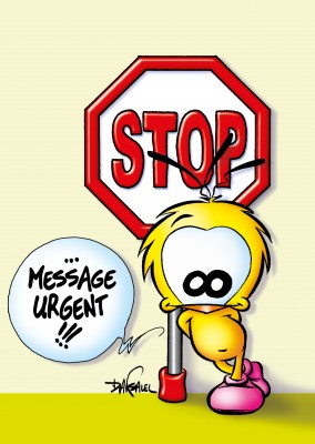 Le Piaf Cartoon STOP message urgent