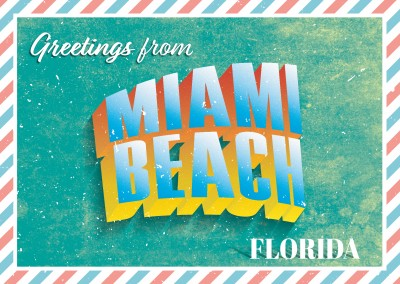 Retro postcard Miami Beach