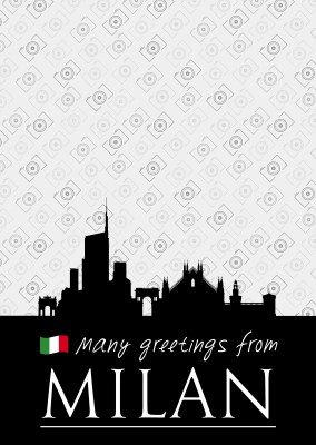 Milan silhouette in black with Italian flag and white lettering