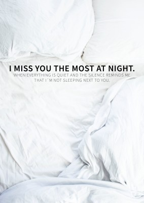 I miss you the most at night postcard