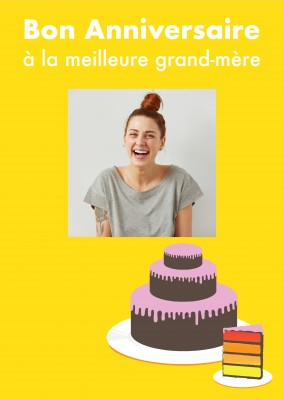 Yellow Birthday Cake Template