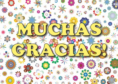 Muchas gracias - bright, colourful type on white background–mypostcard