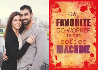 Vintage Spruch Postkarte: My favourite Co-Worker is the coffee machine
