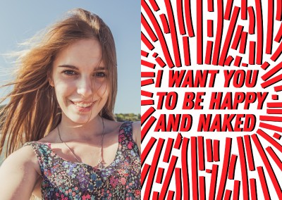 karte mit aufschrift i want you to be happy and naked