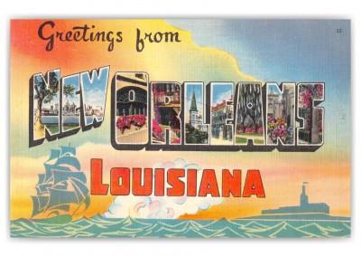 New Orleans Louisiana Large Letter Greetings