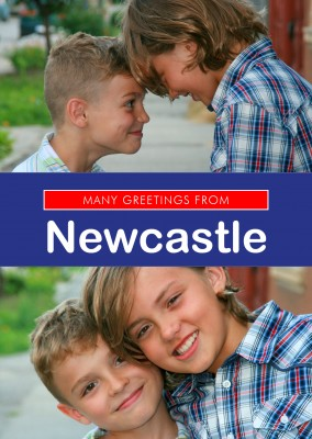 Newcastle in Union Jack-style colours and font