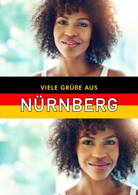 Nürnberg greetings in German flag design