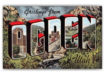 Ogden Utah Greetings Large Letter Linen