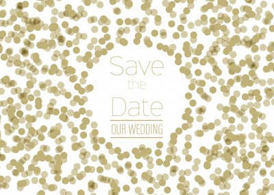 Save the Date Wedding card with golden dots