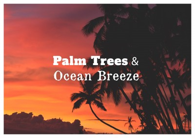 Postkarte Spruch Palm trees & ocean breeze