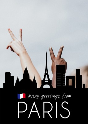 Paris silhouette in black with french flag