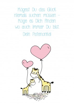 Illustration Giraffen mit Herzluftballon
