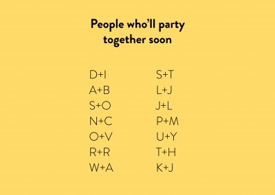 People who'll party together soon