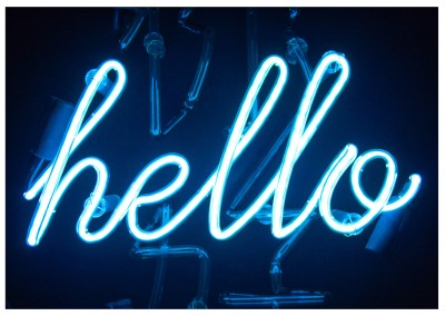 photo neon sign hello