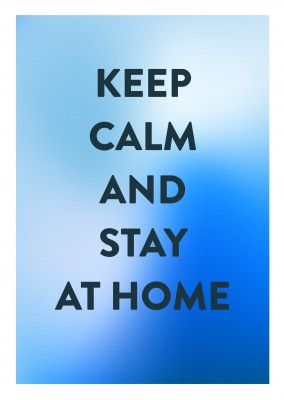 postcard saying Keep calm and stay at home