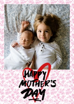 Happy mothers day marker tag with red flower pattern background