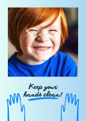 postcard saying Keep your hands clean!