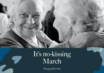 postcard saying It's no-kissing March