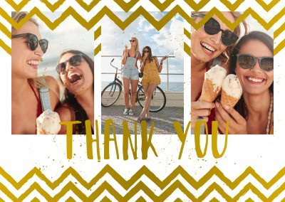 Thank you with golden zigzag hipster pattern