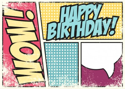 pop art vintage happy birthday greeting card